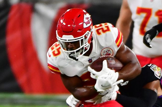 Kansas City Chiefs rookie Clyde Edwards-Helaire is my top fantasy football running back for Week 8. File Photo by David Tulis/UPI
