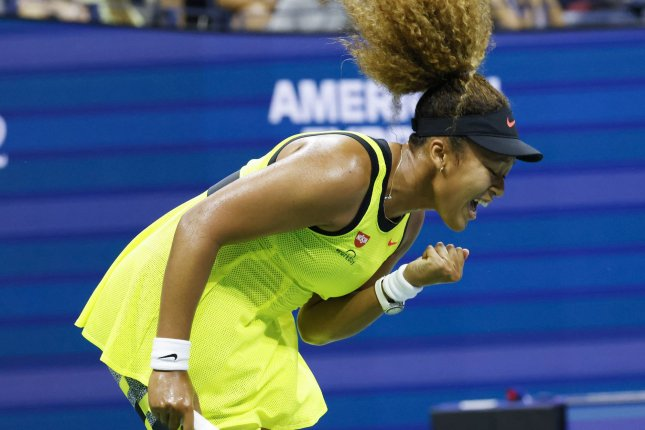 Naomi Osaka, of Japan, reacts after winning a point in the first set against Marie Bouzkova of the Czech Republic on Monday inside Arthur Ashe Stadium during the first round of the 2021 U.S. Open Tennis Championships at the USTA Billie Jean King National Tennis Center in Flushing, N.Y. Photo by John Angelillo/UPI