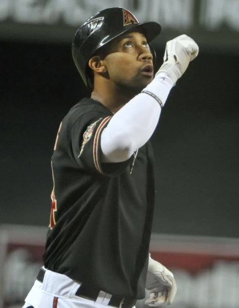 Chris Young of the Arizona Diamondbacks after hitting a home run in the first inning of game four of the NLDS against the Milwaukee Brewers at Chase Field in Phoenix, Oct. 5,2011. UPI/Art Foxall