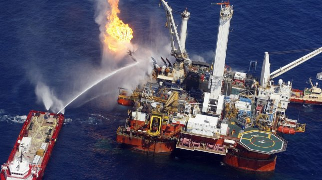 The Q4000 burns off oil and gas in a huge flare at the BP Deepwater Horizon blowout site in the Gulf of Mexico July 10, 2010. UPI/A.J. Sisco.