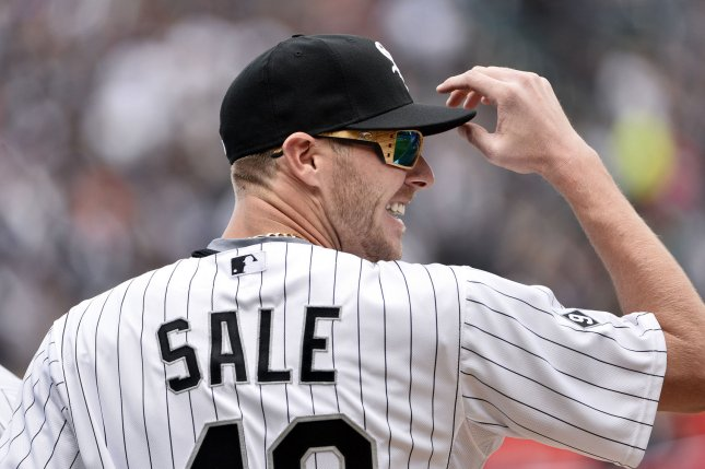 Chicago White Sox starting pitcher Chris Sale. Photo by Brian Kersey/UPI
