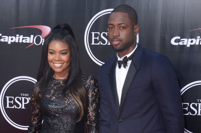 NBA player Dwyane Wade and actress Gabrielle Union attend the ESPY Awards at Microsoft Theater in Los Angeles on July 13, 2016. Photo by Jim Ruymen/UPI