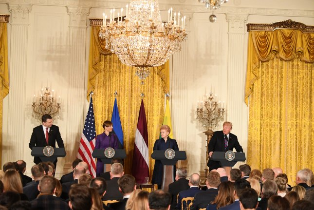 President Donald Trump (R) holds a joint press conference with President Raimonds Vejonis of Latvia (L), President Kersti Kaljulaid of Estonia (C) and President Dalia Grybauskaite of Lithuania, second right, at the White House in Washington, DC on Tuesday. Photo by Pat Benic/UPI