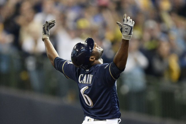 Milwaukee Brewers center fielders Lorenzo Cain has the second-most putouts this season among National League center fielders. File Photo by Brian Kersey/UPI