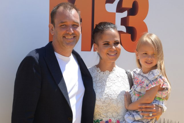 Trey Parker (L) and his wife, Boogie Tillmon, and their daughter Betty Parker attend the premiere of Despicable Me 3 at the Shrine Auditorium in Los Angeles on June 24, 2017. The TV producer turns 50 on October 19. File Photo by Jim Ruymen/UPI