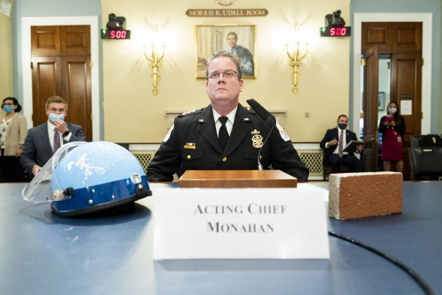 U.S. Park Police acting Chief Gregory Monahan prepares to testify about the June 1 confrontation with protesters at Lafayette Square near the White House during a House natural resources committee hearing on Capitol Hill on Tuesday. Pool Photo by Bill Clark/UPI