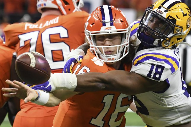 Quarterback Trevor Lawrence and the Clemson Tigers face Notre Dame in the ACC Championship game at 4 p.m. EST Saturday on ABC. Photo by Pat Benic/UPI