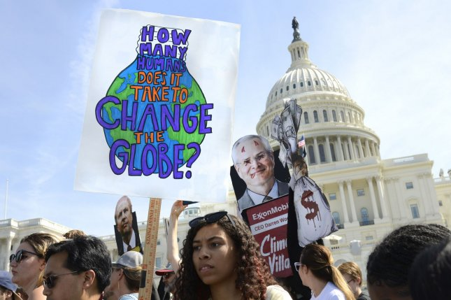 Demonstrators rally in front of the U.S. Capitol in Washington, D.C., on September 20, 2019, as part of the Global Climate Strike to support measures to fight climate change. File Photo by Mike Theiler/UPI