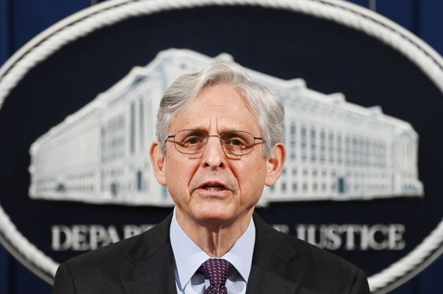 U.S. Attorney General Merrick Garland is seen at the Department of Justice in Washington, D.C., on April 26. Garland said the department's budget proposes a $304 million increase for programs that support community-oriented policing. Pool Photo by Mandel Ngan/UPI