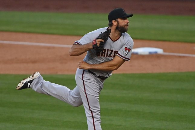 Arizona Diamondbacks starting pitcher Madison Bumgarner, shown May 17, 2021, underwent an MRI on Thursday that revealed the inflammation in his throwing shoulder. File Photo by Jim Ruymen/UPI