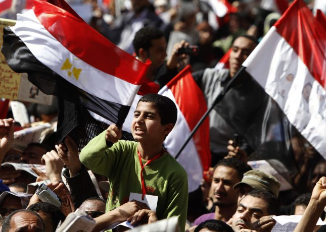 Thousands of Egyptians demonstrate in Cairo's Tahrir Square during an uprising to demand political and economic change on March 4, 2011 a day after Essam Sharaf was named New Prime Minister. Today's protest, which was meant to press for change, turned into a massive celebration following news that Shafiq had been replaced by Sharaf. UPI