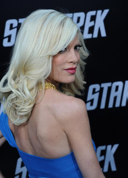 Tori Spelling attends the premiere of the sci-fi adventure motion picture Star Trek, at Grauman's Chinese Theatre in the Hollywood section of Los Angeles on April 30, 2009.(UPI Photo/Jim Ruymen)