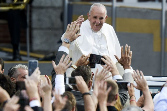 Pope Francis arrives at Independence Hall in Philadelphia on September 26, 2015 in Philadelphia, PA. Photo by Leigh Vogel/UPI