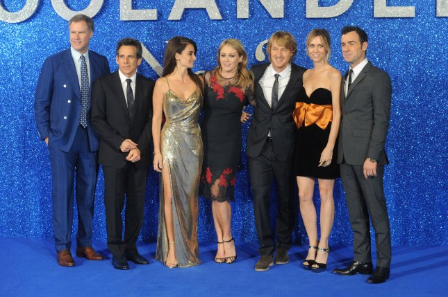 """(L-R) Will Ferrell, Ben Stiller, Penelope Cruz, Christine Taylor, Owen Wilson, Kristen Wiig and director Justin Theroux attend the premiere of """"Zoolander 2"""" in London on February 4, 2016. File Photo by Paul Treadway/ UPI"""