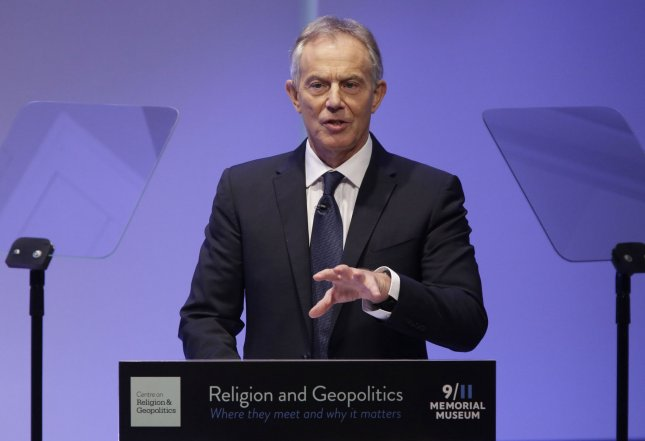 Former British Prime Minister Tony Blair called for British citizens to 'rise up and find a way out of plans to seperate Britain from the European Union in a speech Friday in London. British voters approved the exit from the EU in a referendum held in June 2016. File Photo by John Angelillo/UPI