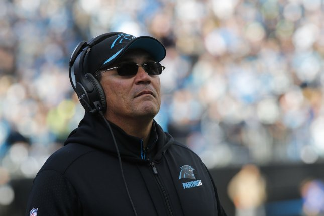 Carolina Panthers coach Ron Rivera watches his team play the Seattle Seahawks in the second half of a NFC divisional playoff football game at Bank of America Stadium in Charlotte, North Carolina on January 17, 2016. File photo by Nell Redmond/UPI