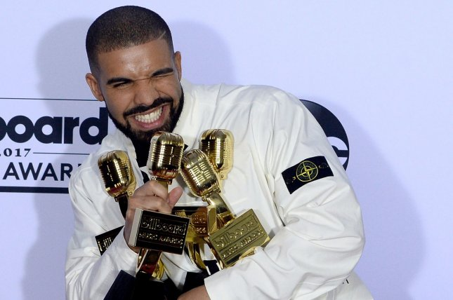 Drake's newest song God's Plan has been streamed the most times in a single day on Spotify and Apple Music. File Photo by Jim Ruymen/UPI