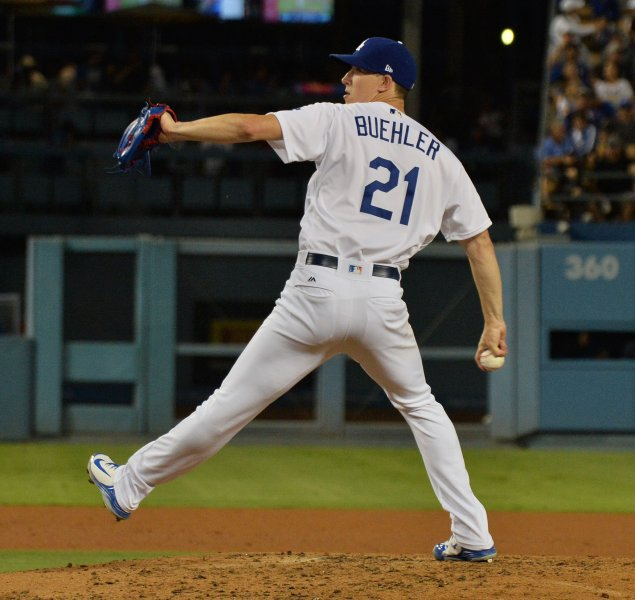 Walker Buehler and the Los Angeles Dodgers face the Texas Rangers on Tuesday. Photo by Jim Ruymen/UPI