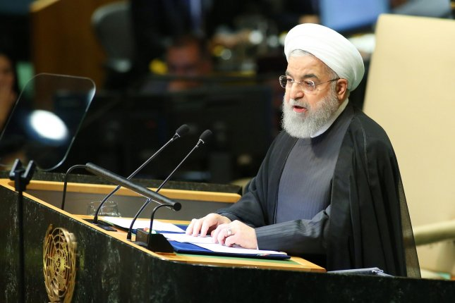 Hassan Rouhani, president of Iran, speaks at the United Nations General Assembly in New York on September 25. Photo by Monika Graff/UPI