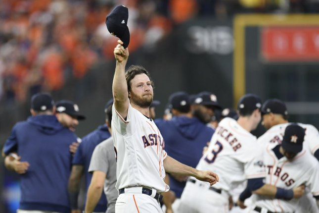 Houston Astros starting pitcher Gerrit Cole (45) tips his cap after defeating the Tampa Bay Rays during Game 5 of the ALDS on Thursday at Minute Maid Park in Houston. Photo by Trask Smith/UPI
