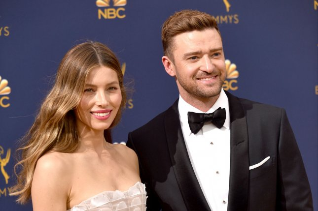 Justin Timberlake (R), pictured with Jessica Biel, issued an apology on Instagram after he was spotted holding hands with his Palmer co-star Alisha Wainwright. File Photo by Christine Chew/UPI