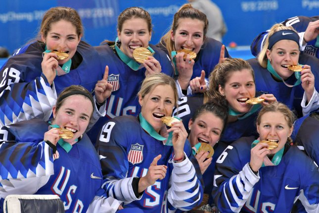 Team USA beat Canada for their first gold medal in women's hockey since 1998 during the 2018 Winter Olympics. File Photo by Richard Ellis/UPI
