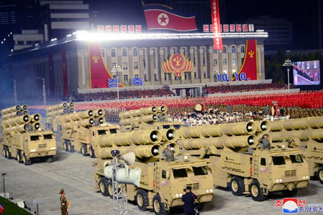 North Korean cruise missiles that were fired Sunday may have been included in a parade held last October during the 75th anniversary of the Korean Workers' Party, and analysis is ongoing, according to a South Korean press report. File Photo by KCNA/UPI