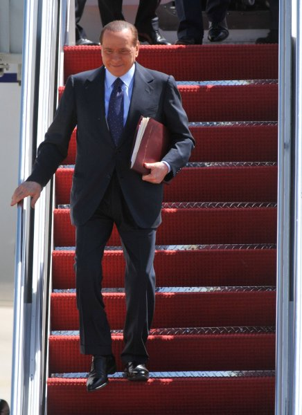 Italian Prime Minister Silvio Berlusconi, pictured at Andrews Air Force Base in Maryland April 12, 2010. UPI/Kevin Dietsch