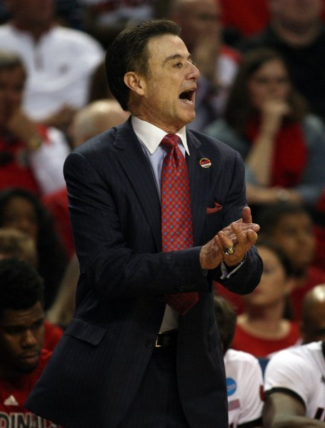 Louisville coach Rick Pitino shouts to his team from the sidelines during a game against UC Irvine. Photo by Jim Bryant/UPI