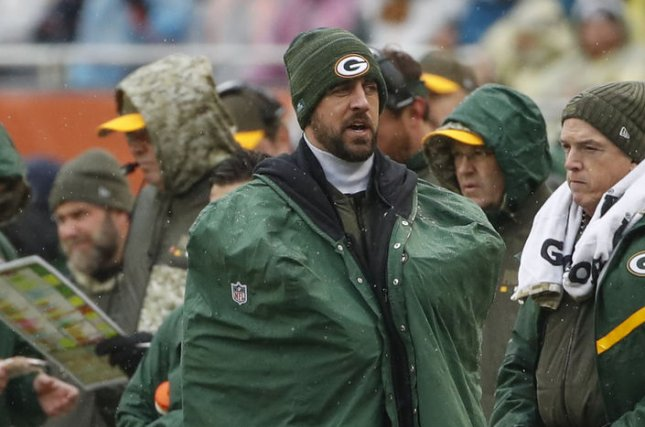 Injured Green Bay Packers quarterback Aaron Rodgers walks on the sidelines during the first half of an NFL game against the Chicago Bears at Soldier Field in Chicago on November 12, 2017. File photo by Kamil Krzaczynski/UPI
