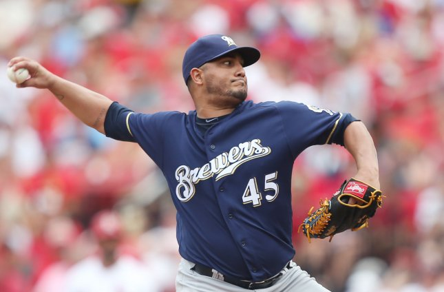 Jhoulys Chacin and the Milwaukee Brewers face the Washington Nationals on Friday. Photo by Bill Greenblatt/UPI