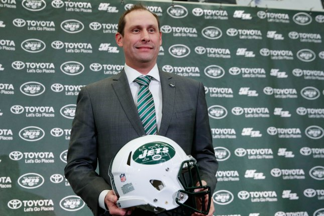 The New York Jets hired coach Adam Gase in January after he was fired by the Miami Dolphins. Gase says he is looking forward to using Le'Veon Bell this year. File Photo by John Angelillo/UPI