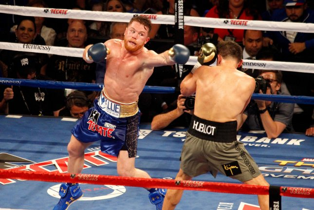 Canelo Alvarez's only career loss came in a Sept. 14, 2013 bout against Floyd Mayweather Jr. File Photo by James Atoa/UPI