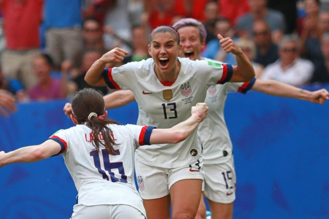 Alex Morgan (13) is expecting a baby girl in April, about three months before the beginning of the Olympics. File Photo by David Silpa/UPI