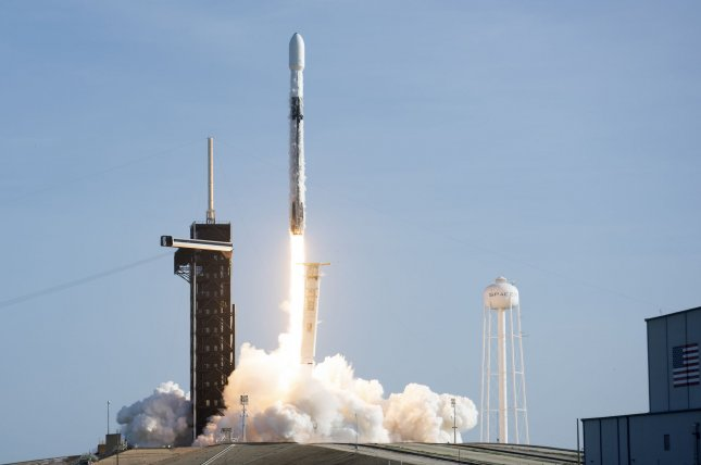 A SpaceX Falcon 9 rocket lifts off from Florida in September with 60 SpaceX Starlink communications satellites on board. File Photo by Joe Marino/UPI