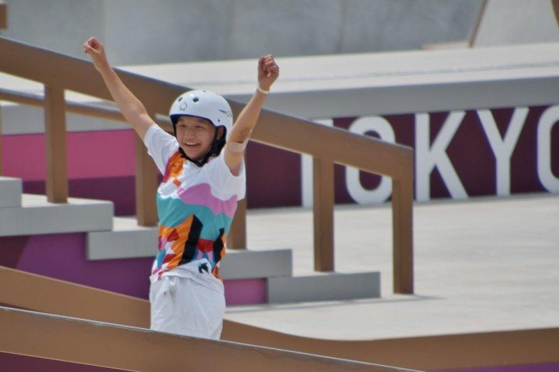 Japan's Momiji Nishiya celebrates in the final during the Tokyo Olympics skateboarding women's street at Ariake Sports Park in Tokyo on Monday. Photo by Keizo Mori/UPI