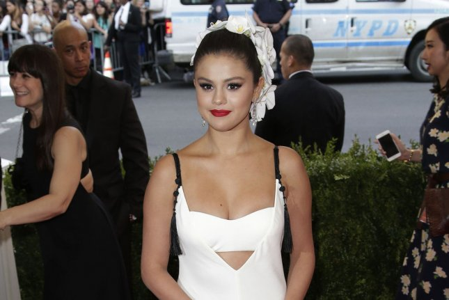 Selena Gomez at the 2015 Met Gala in May. The singer released new song 'Good for You' ft. A$AP Rocky on Sunday. File photo by John Angelillo/UPI