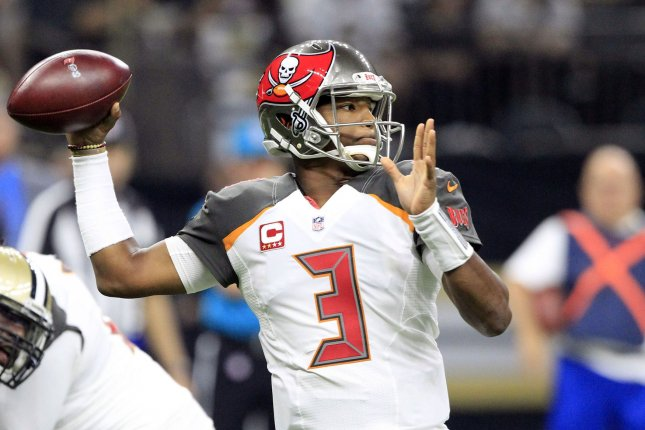 Tampa Bay Buccaneers quarterback Jameis Winston (3) throws against the New Orleans Saints on November 5, 2017 at the Mercedes-Benz Superdome in New Orleans. Photo by AJ Sisco/UPI