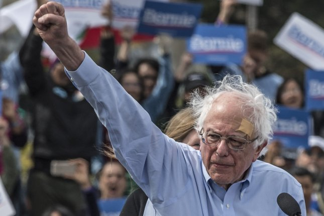 Sen. Bernie Sanders addresses a rally in San Francisco on March 24. File Photo by Terry Schmitt/UPI