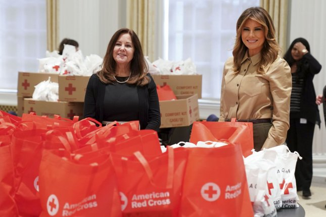 First lady Melania Trump and second lady Karen Pence help pack comfort bags at the Red Cross blood donation center in Washington, D.C., to help support U.S. troops stationed overseas on Wednesday. Photo by Leigh Vogel/UPI