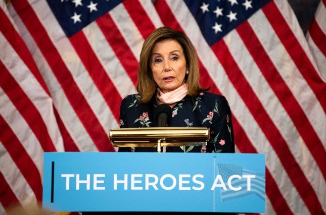 Speaker of the House Nancy Pelosi, D-Calif., holds a press conference on the Heroes Act at the U.S. Capitol in Washington, D.C. on Wednesday. to Photo by Kevin Dietsch/UPI
