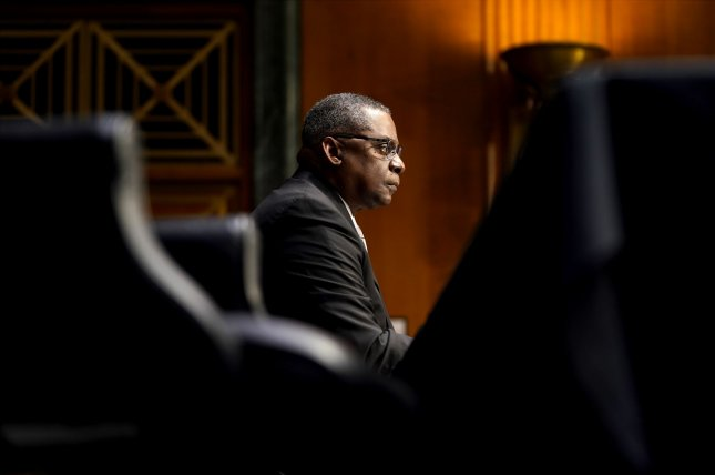 Retired U.S. Army Gen. Lloyd Austin III testifies before the Senate armed services committee on Tuesday during his confirmation hearing to be defense secretary, at the U.S. Capitol in Washington, D.C. Photo by Greg Nash/UPI/Pool
