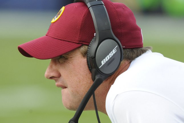 Washington Redskins coach Jay Gruden watches his team play the Los Angeles Chargers on December 10 at StuHub Center in Carson, Calif. Photo by Lori Shepler/UPI