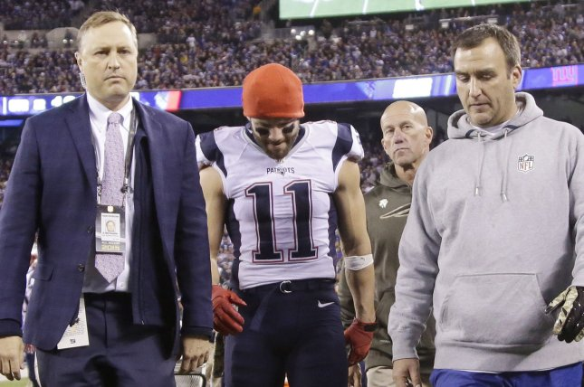 New England Patriots wide receiver Julian Edelman (11) walks off of the field with an injury in the first half against the New York Giants on November 15, 2015 at MetLife Stadium in East Rutherford, New Jersey. File photo by John Angelillo/UPI