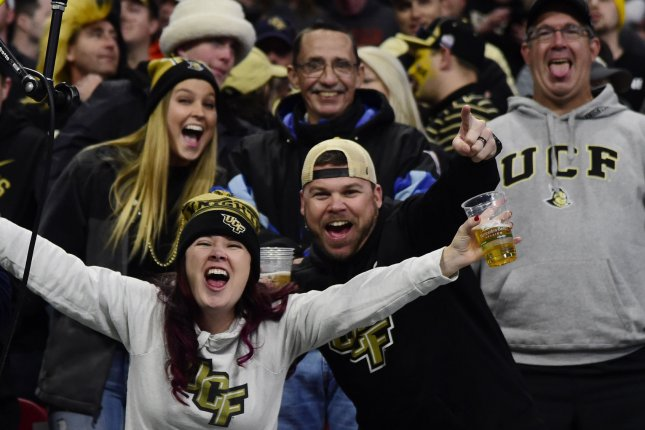 University of Central Florida fans reacts during the Chick-fil-A Peach Bowl NCAA football game at the Mercedes-Benz Stadium in Atlanta on January 1, 2018. Photo by David Tulis/UPI