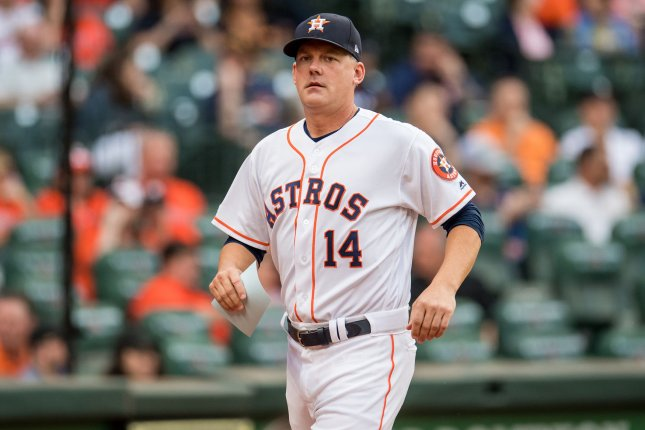 Houston Astros manager A.J. Hinch (pictured), along with Boston Red Sox manager Alex Cora and New York Mets skipper Carlos Beltran, will be interviewed by the league. File Photo by Trask Smith/UPI