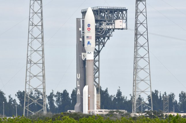 A United Launch Alliance Atlas V rocket with NASA's Mars 2020 Perseverance rover onboard sits ready on the launch pad Tuesday at Cape Canaveral Air Force Station in Florida. Photo by Joe Marino/UPI