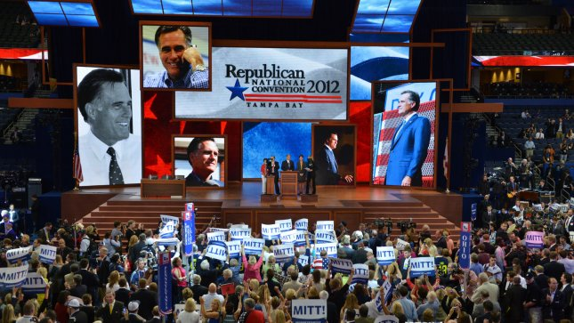 The delegations celebrate the official vote tally nominating Mitt Romney as the Republican party presidential candidate at the 2012 Republican National Convention at the Tampa Bay Times Forum in Tampa on August 28, 2012. UPI/Kevin Dietsch