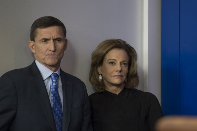 Former National Security Adviser Mike Flynn and Deputy National Security Adviser Kathleen K.T. McFarland, who is expected to leave her post in about two weeks to possibly serve as ambassador to Singapore, listen to press secretary Sean Spicer during the daily press briefing at the White House in Washington, D.C., on February 1. File Photo by Molly Riley/UPI