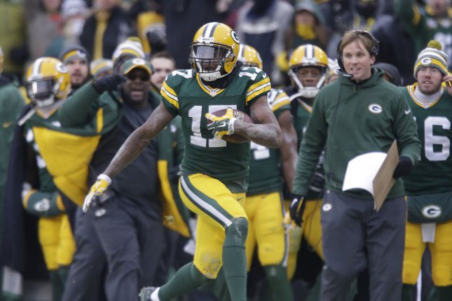 Green Bay Packers wide receiver Davante Adams suffered a toe injury during Sunday's game against the Philadelphia Eagles in Week 4. File Photo by Jeffrey Phelps/UPI